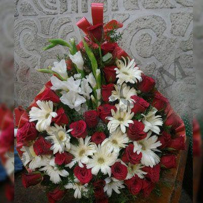 Red Roses & white Gerberas_Basket